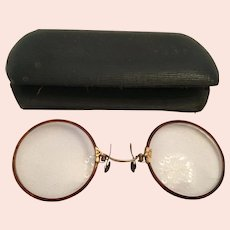 "Edwardian ""Pince Nez"" Spectacle Glasses and Clamshell Case"