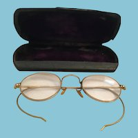 circa 1920s Bifocal 'Grannie Glasses' and Clamshell Case