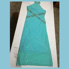 Circa 1980s Italian 'Pale Mint Green' Full-Length Cocktail Dress