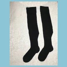 Circa 1930s-40s Grannie's Expandable Black Knit Stockings