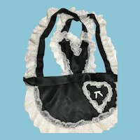 1970s-80s 'Coquette' Canada French Maid Lace-Trimmed Black Apron