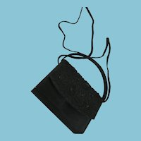 1980s - 90s Two Strap Beaded Black Satin Cocktail Purse