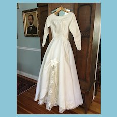 1970 Size 8 White Satin and Lace Beaded Princess Wedding Gown