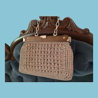 1960s Beige Macrame Handbag with Wooden and Brass