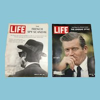 Two 1968 Life Magazines: DeGaulle Espionage, NY Mayor John Lindsay