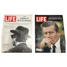 Two 1968 Life Magazines: DeGaulle Espionage, NY Mayor John Lindsay