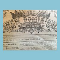 December 28, 1867 'The New Dominion and True Humorist' Newspaper