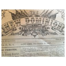 December 28, 1867 'The New Dominion and True Humorist' Newspaper