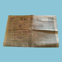 November 5, 1864 'The Globe' newspaper, Toronto, Canada West