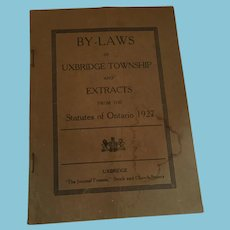 1927, 'By-laws of Uxbridge Township and Extracts from the Statutes of Ontario 1927