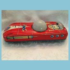 1970s E. Flim LEMEZINTERKOZMOSZ Brightly Colored Litho Tin Space Car