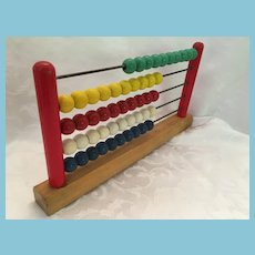 Circa 1940s - 50s Small Colorful Wooden Counter Abacus