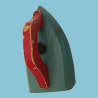 Circa 1930s - 40s Small Wooden Red, Blue Child's Play Iron