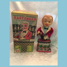 Rare Functioning 1950's Rosko Bartender with Revolving Eyes Tin Toy in Original Box