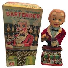 Rare Functioning 1950's Rosko Bartender with Revolving Eyes Tin Toy in Original Box