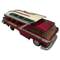 Functioning 1950's Battery Operated Tin Toy Tour Bus