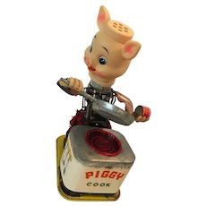 1950's Battery Operated Yonezawa 10621  BBQ Tin Litho Vintage Toy Piggy Cook