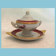 Early Limoges France Three Piece Miniature Covered Soup Tureen and Platter