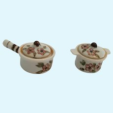 Early Four-Piece Miniature Porcelain Covered Casserole dish and Saucepan