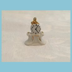 Early Miniature White Unmarked Porcelain Gilt-Trimmed Mantle Clock