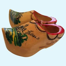 1970s Mini Hand-carved Wooden Shoes Made in Holland