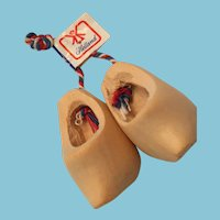 """1970s 1 1/2"""" Hand-carved Wooden Shoes from Holland"""