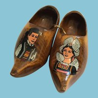1950's Miniature Hand-carved wooden Clogs from France
