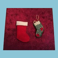 Group of Two Miniature Felt Christmas stockings