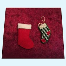 Group of Two Miniature Felt Christmas stockings
