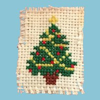 Hand-made Needle Point Miniature Christmas Tree