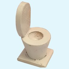 "miniature 2"" white painted hand-made wooden Toilet"