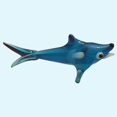 Blown Glass Blue and White Shark Miniature Ornament