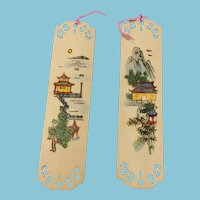 Miniature Balsa Wood Bookmarks with Painted Pagoda Scenes