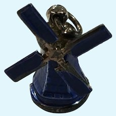 Miniature Enameled Navy Blue Metal Windmill Charm