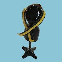 Miniature Heavy Black Metal Dressmaker's Form and Measuring Tape