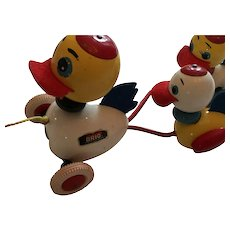 Classic 1970 Duck/Ducklings Brio Sweden Pull Along Toy.