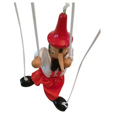 """Hand-painted 10"""" Wooden Pinochio Marionette from Sorrento, Italy"""