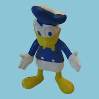 "Circa 1960s Walt Disney Productions  5 1/2"" Soft Rubber Bendable Donald Duck"