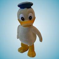 Vintage Disney Donald Duck Flocked Vinyl Figure 4 inch circa 1960s