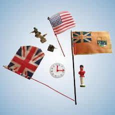 Group of Eight Vintage Miniatures - Flags, Clock, and Soldiers