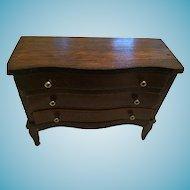 Three Drawer Walnut Dollhouse Dresser with Brass Nobs
