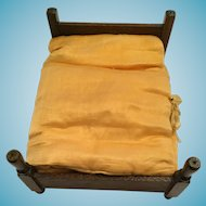 Circa 1960s Walnut Wooden Double Bed and Duvet