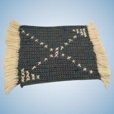 Hand-Knit Turquoise and White Fringed Rectangular Dollhouse Rug