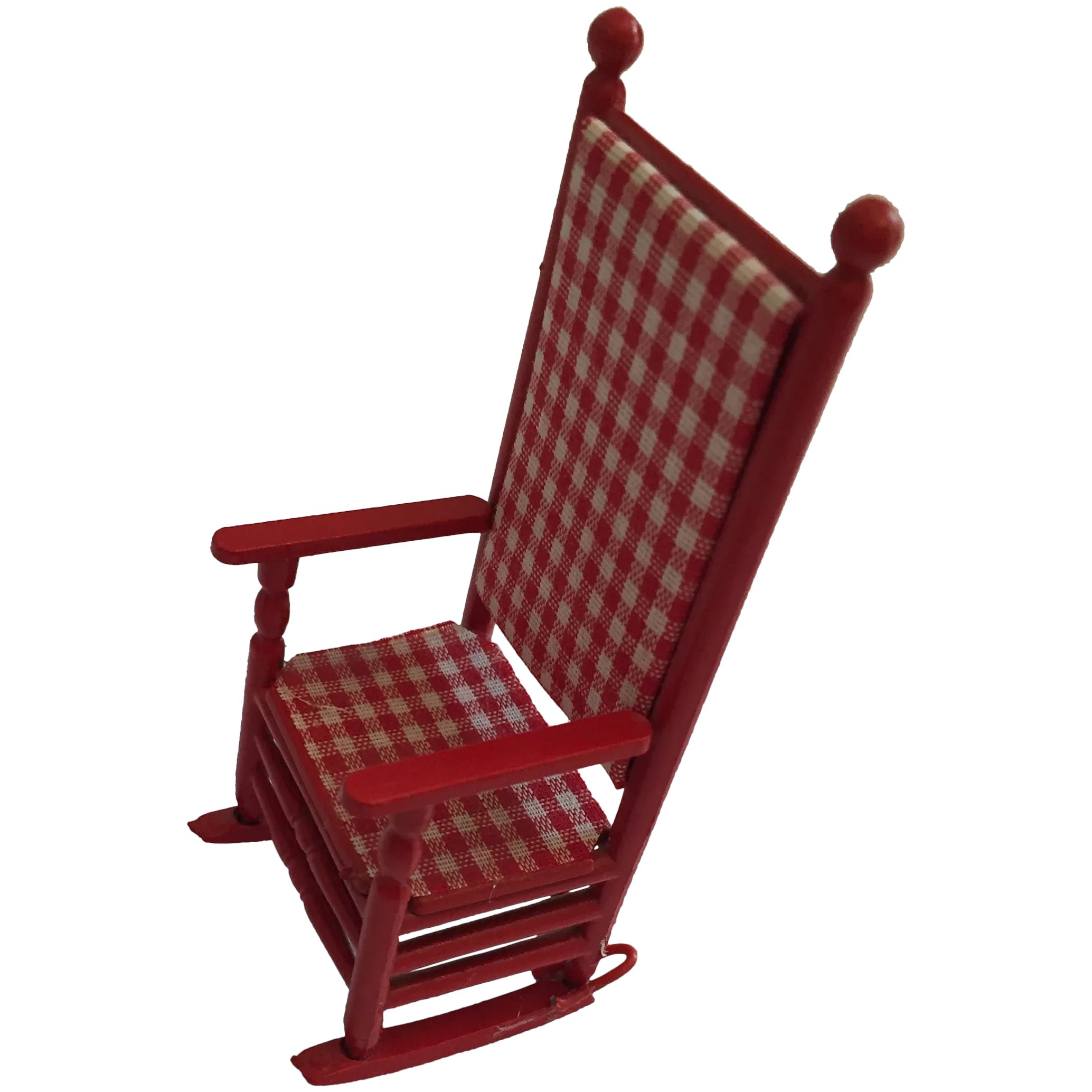 Circa 1960s Red Lacquer High Back Dollhouse Rocking Chair