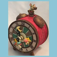 'It's a Small World After All' Faux Alarm Clock Ceramic Music Box