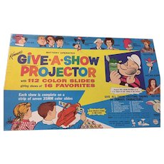 Circa 1960 Kenner Battery Operated 'Give a Show Projector' and 16 Slide Strips