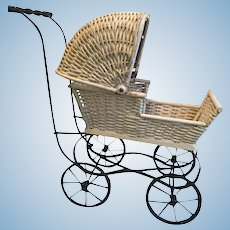 Early 20th Century Reinecke Milwaukee Wis #49 White Wicker Baby Buggy