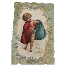 A Precious 1920s Cupid Carries 'True Love's Greeting' Card
