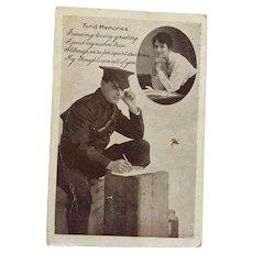 Unused World War I Valentine Post Card of a Soldier