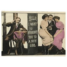 1913  Romantic Hand-Printed Post Card with an Intriguing Message